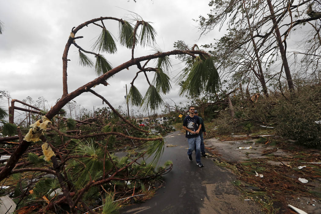 People walk through downed trees in a heavily damaged neighborhood in the aftermath of Hurricane Michael in Panama City, Fla., Wednesday, Oct. 10, 2018. Supercharged by abnormally warm waters in t ...