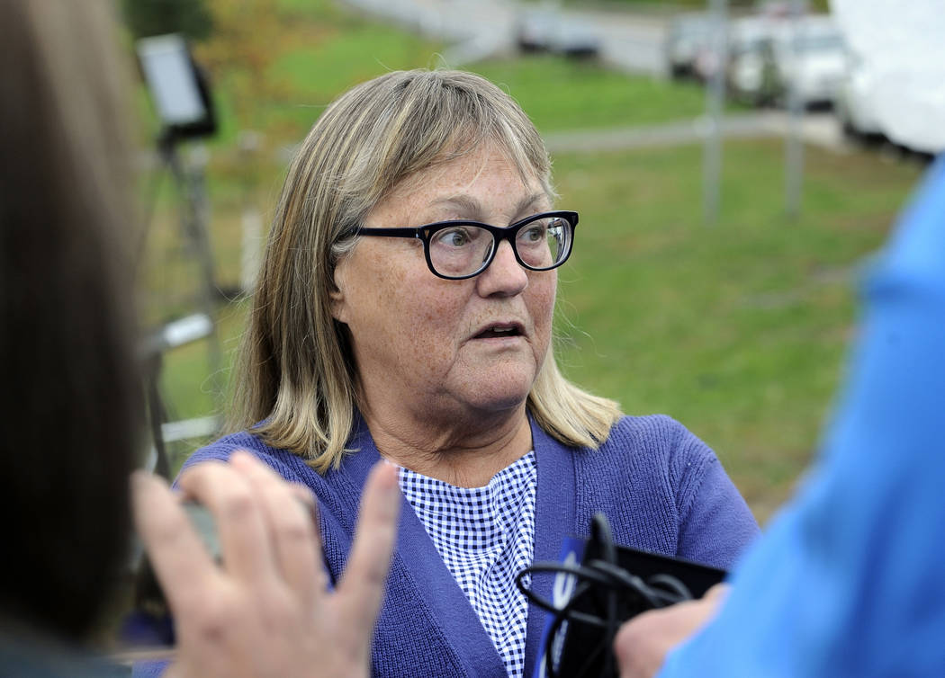 Barbara Douglas, of Danamora, N.Y., talks to reporters about her four family members who died in Saturday's fatal limousine crash in Schoharie, N.Y., Sunday, Oct. 7, 2018. A limousine loaded with ...