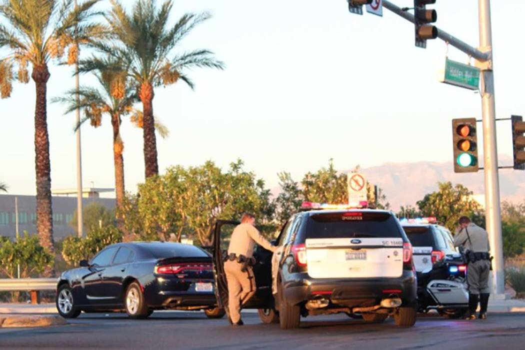 Las Vegas police are investigating a crash Wednesday, Oct. 10, 2018, at Hidden Well Road and Gilespie Street.
