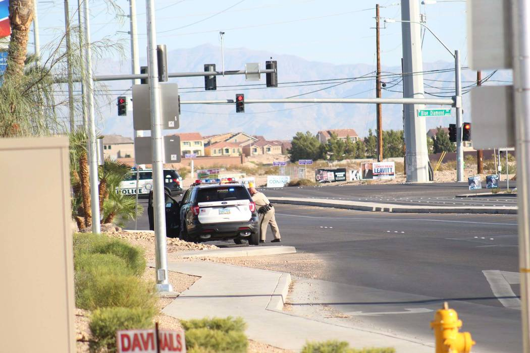 Las Vegas police are investigating an officer-involved shooting near South Rainbow Boulevard and Gary Avenue, near Blue Diamond Road, on Wednesday, Oct. 10, 2018, in Las Vegas. (Max Michor/Las Veg ...