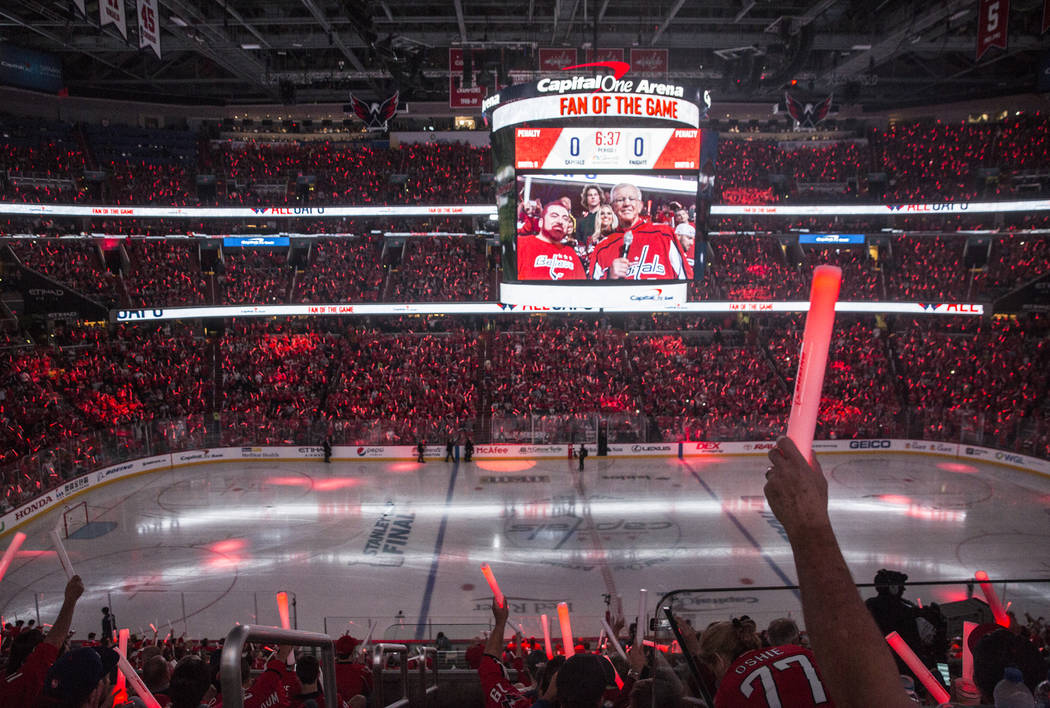 Capital One Arena is packed for Game 3 of the NHL Stanley Cup Final between the Golden Knights and Washington Capitals on Saturday, June 2, 2018, in Washington. Benjamin Hager Las Vegas Review-Jou ...