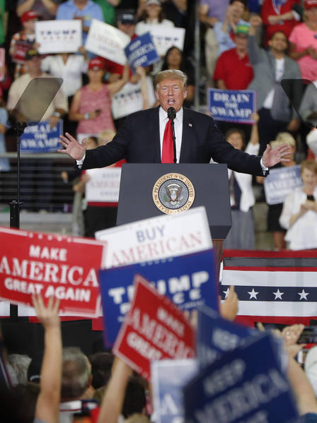 President Donald Trump speaks at a rally endorsing the Republican ticket in Pennsylvania on Wednesday, Oct. 10, 2018 in Erie, Pa.(AP Photo/Keith Srakocic)
