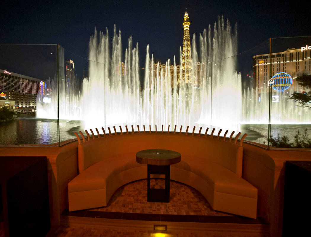 A VIP seating area at the new Hyde Lounge in the Bellagio hotel-casino is seen Wednesday, Dec. 28, 2011, with the Bellagio fountains behind. The lounge will open on New Years Eve. (Jerry Henkel/La ...