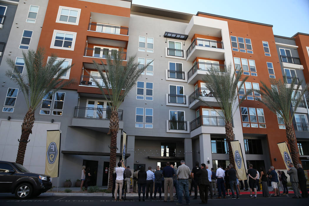 People attend the grand opening ceremony at Fremont9, a new apartment complex in downtown Las Vegas at Fremont and 9th Street in Las Vegas, Tuesday, Sept. 18, 2018. Erik Verduzco Las Vegas Review- ...
