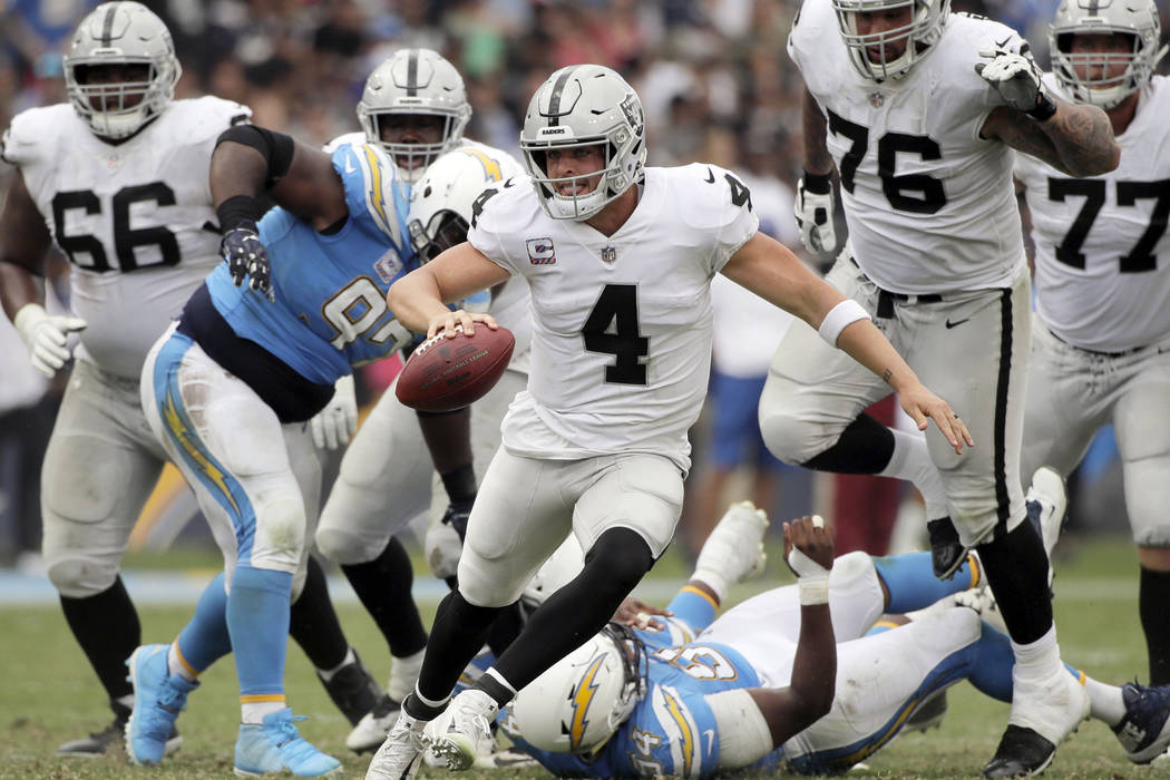Oakland Raiders quarterback Derek Carr (4) scrambles during the second half of an NFL football game against the Los Angeles Chargers, Sunday, Oct. 7, 2018, in Carson, Calif. (AP Photo/Jae C. Hong)