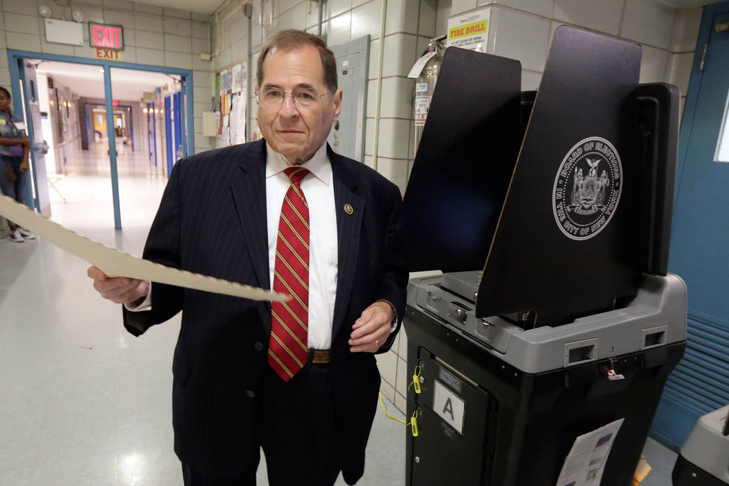 U.S. Rep. Jerrold Nadler, D-NY, scans his ballot after voting on New York's Upper West Side, Tuesday, June 28, 2016. (AP Photo/Richard Drew)