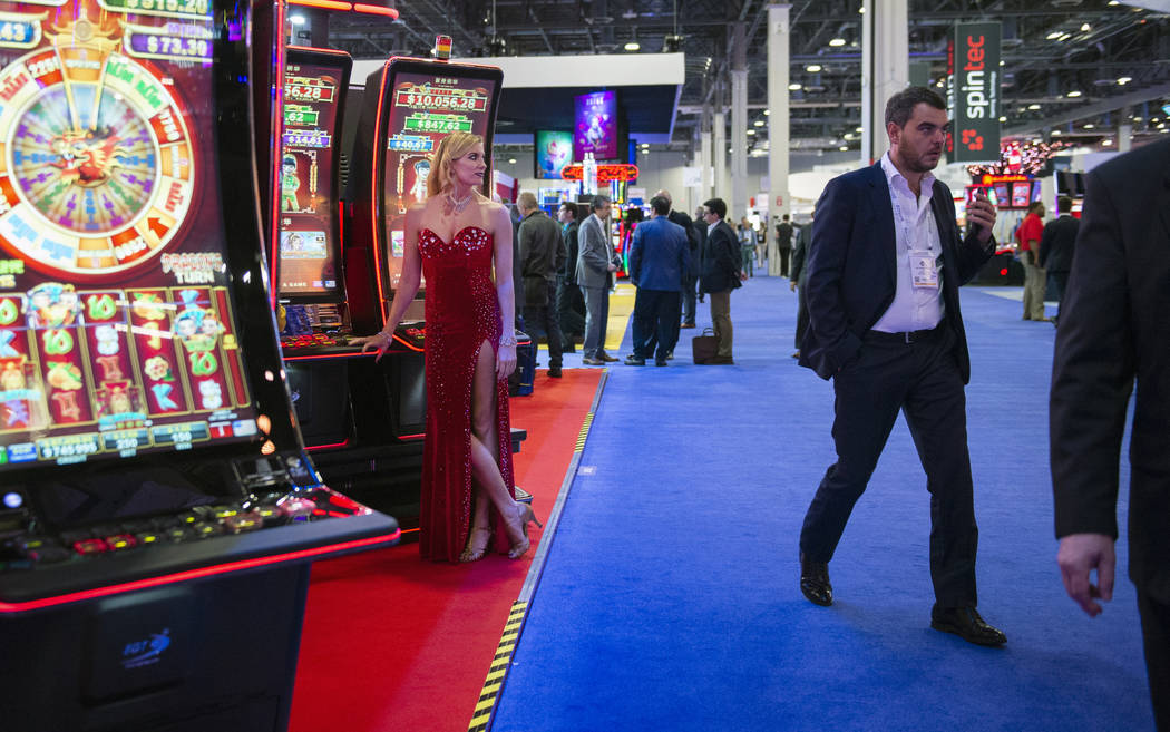 Kelly Nagaro of Las Vegas looks out at the crowd gathered at the 18th annual Global Gaming Expo at Sands Expo and Convention Center in Las Vegas, Wednesday, Oct. 10, 2018. Caroline Brehman/Las Veg ...