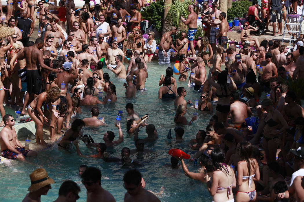 ALYSSA ORR/LAS VEGAS REVIEW-JOURNAL Guests take advantage of the Hard Rock Hotel-Casino's Rehab pool and day spa in Las Vegas Sunday Aug. 28, 2011. ALYSSA ORR/LAS VEGAS REVIEW-JOURNAL Gue ...