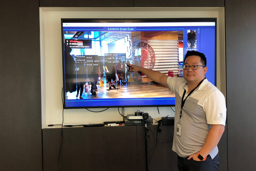 Shing Tao, CEO of Remark Holdings, shows off his facial recognition product at the headquarters of Remark Holdings in Las Vegas, Friday, Oct.12, 2018. Todd Prince Las Vegas Review-Journal