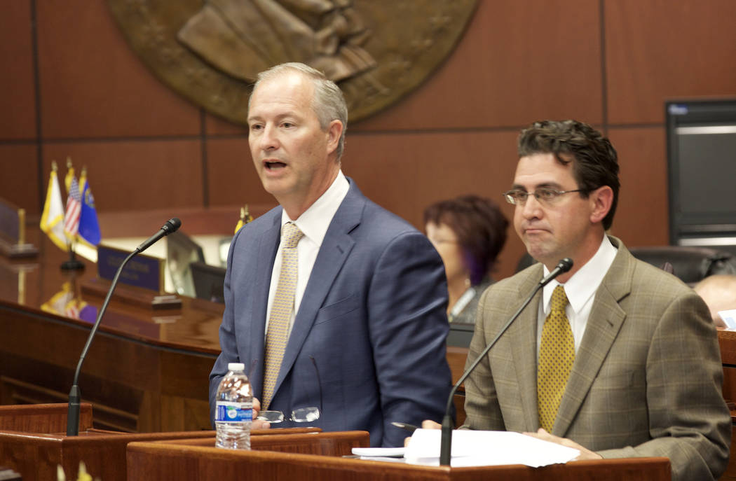 Steve Hill, president and CEO of the LVCVA, and Jeremy Aguero of Applied Analysis speak to the State Senate in Carson City on Tuesday, Oct. 11, 2016. (Heidi Fang/Las Vegas Review-Journal)