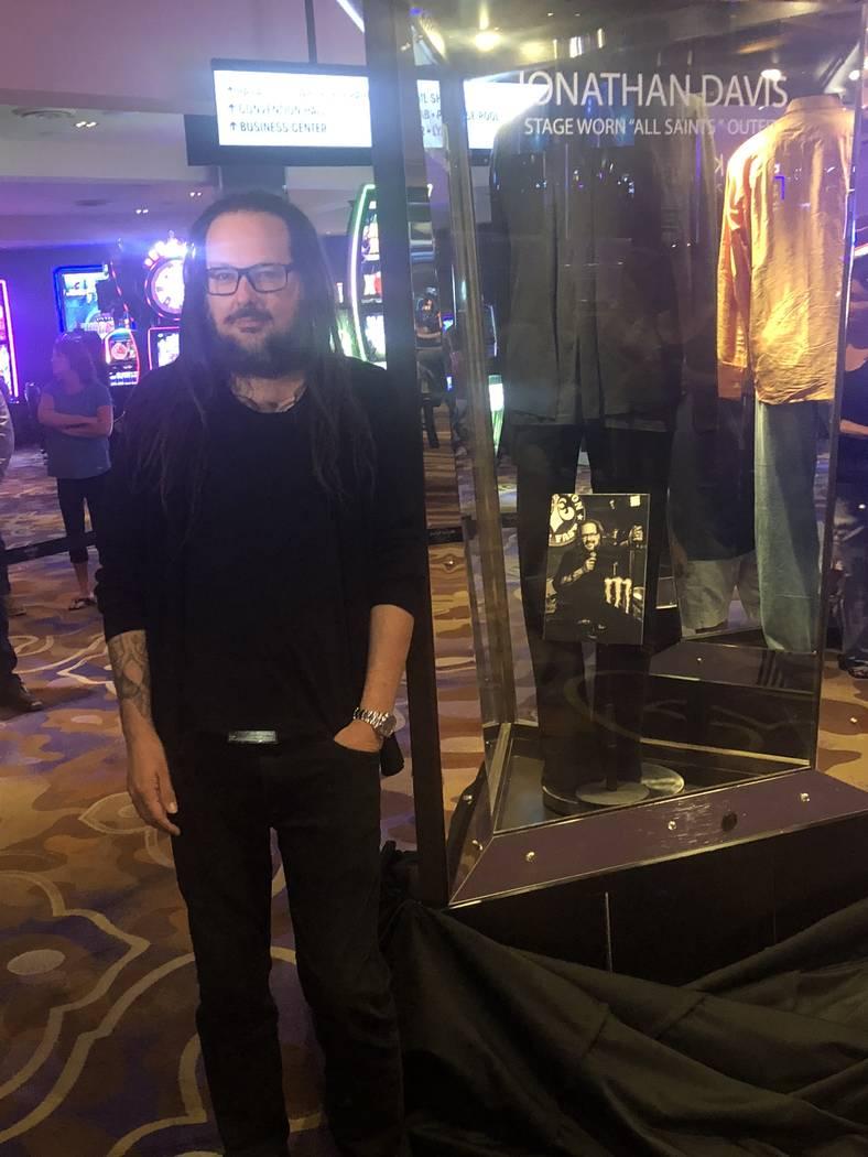 Korn vocalist Jonathan Davis is shown in front of his memorabilia case at Hard Rock Hotel on Wednesday, Oct. 10, 2018. (John Katsilometes/Las Vegas Review-Journal) @JohnKatsilometes