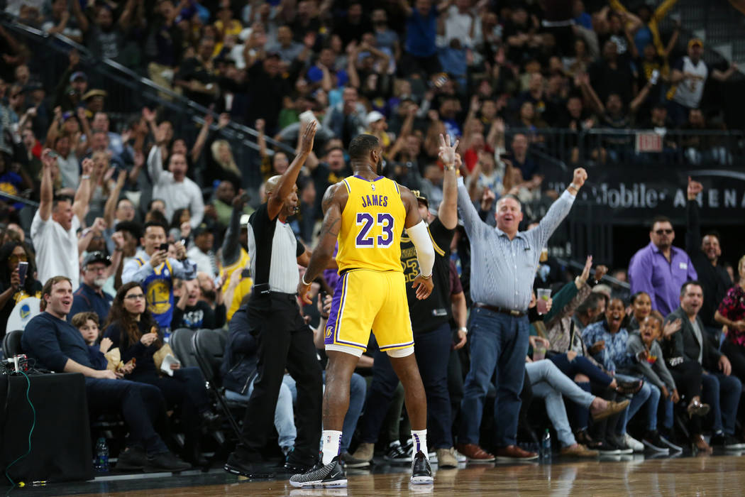 Los Angeles Lakers forward LeBron James (23) after making a buzzer shot to end the second quarter against the Golden State Warriors in the NBA game at T-Mobile Arena in Las Vegas, Wednesday, Oct. ...