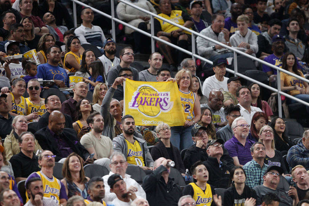 Fans get ready to watch the Golden State Warriors against the Los Angeles Lakers in the NBA game at T-Mobile Arena in Las Vegas, Wednesday, Oct. 10, 2018. Erik Verduzco Las Vegas Review-Journal @E ...
