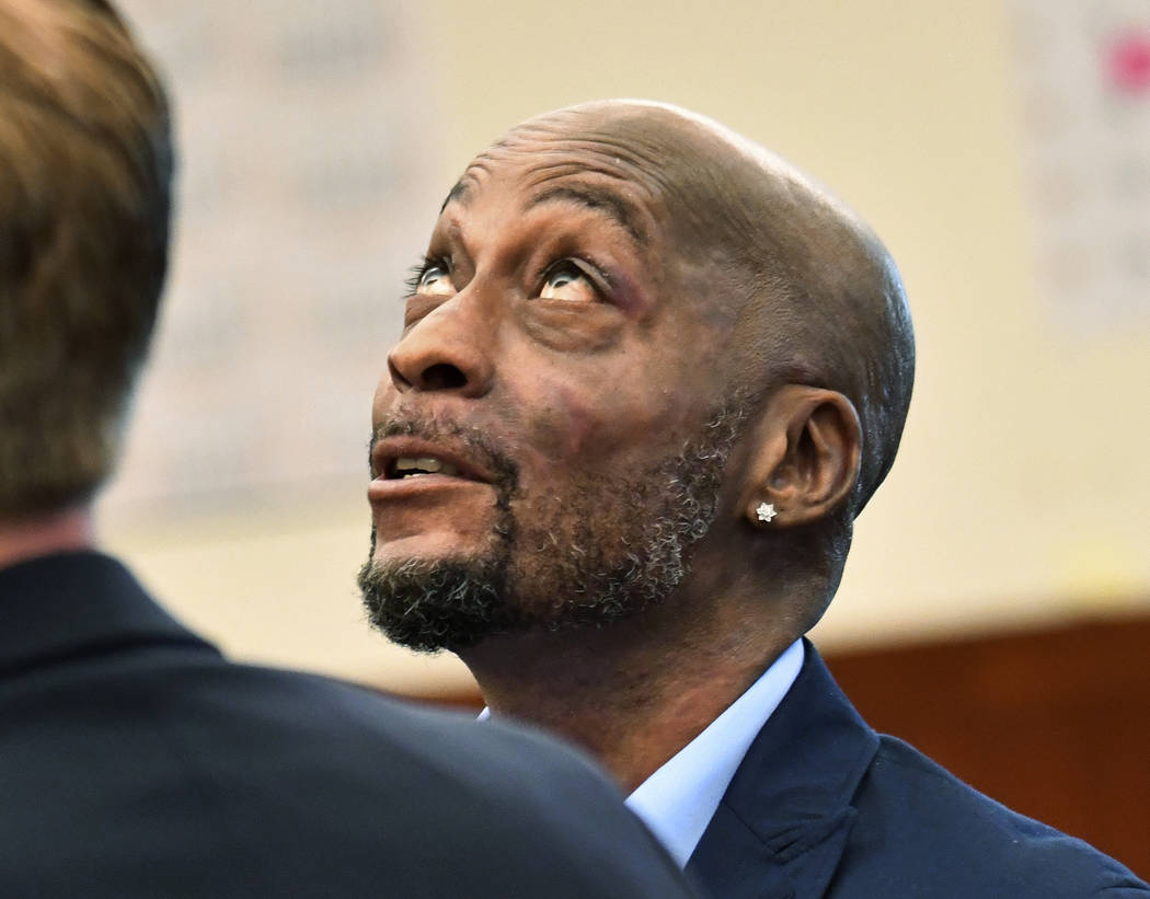 FILE - In this July, 9, 2018, file photo, plaintiff DeWayne Johnson looks up during a brief break as the Monsanto trial in San Francisco. A San Francisco jury's $289 million verdict in favor of th ...