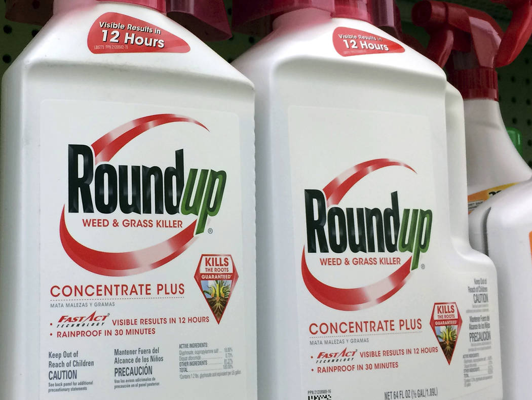 FILE - This Jan. 26, 2017 file photo shows containers of Roundup, a weed killer made by Monsanto, on a shelf at a hardware store in Los Angeles. A San Francisco jury's $289 million verdict in favo ...