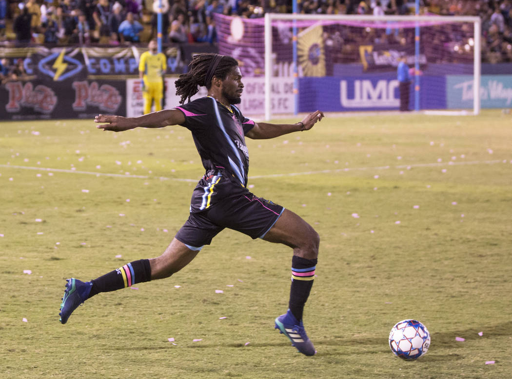 Las Vegas Lights defender Carter Manley (2) pushes the ball up field during their United Soccer League game with the Phoenix Rising on Wednesday, Oct. 10, 2018, at Cashman Field, in Las Vegas. Ben ...