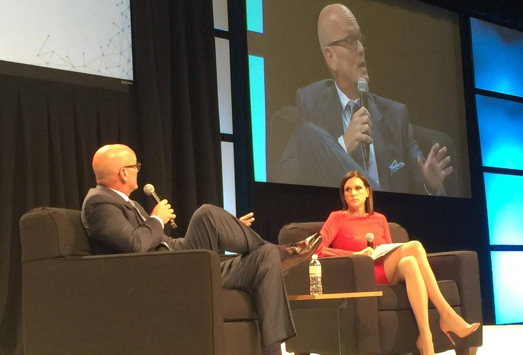 ESPN SportsCenter anchor talks as the keynote speaker on sports gaming at the G2E conference on Wednesday. Photo by Todd Dewey/Review-Journal