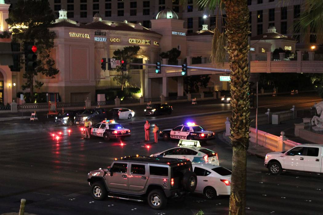 Las Vegas police investigate a crash involving a limousine and a police SUV on Flamingo Road just east of Interstate 15, early Thursday morning, Oct. 11, 2018. (Max Michor/Las Vegas Review-Journal)