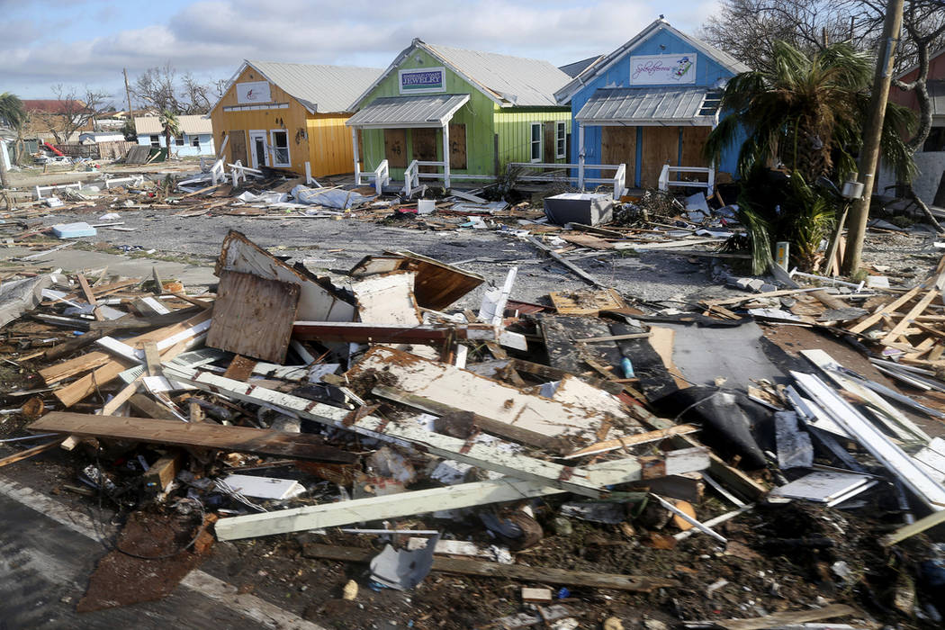 Debris from homes destroyed by Hurricane Michael litters the coastal township of Mexico Beach, Fla., Thursday, Oct. 11, 2018. (Douglas R. Clifford/Tampa Bay Times via AP)