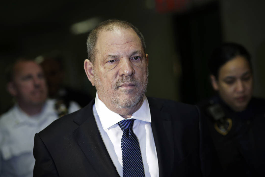Harvey Weinstein enters State Supreme Court, Thursday, Oct. 11, 2018, in New York. Judge James Burke is expected to issue rulings Thursday on defense motions seeking to dismiss some or all of a si ...
