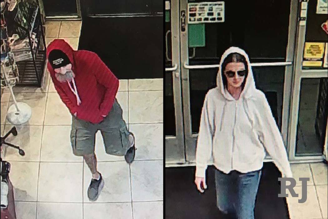 Las Vegas police ask for help to find 2 who robbed gas station