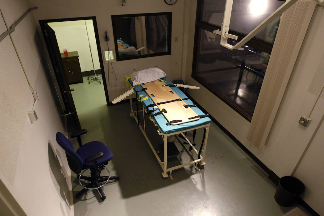 FILE - In this Nov. 20, 2008, file photo, the execution chamber at the Washington State Penitentiary is shown with the witness gallery behind glass at right, in Walla Walla, Wash. Washington state ...