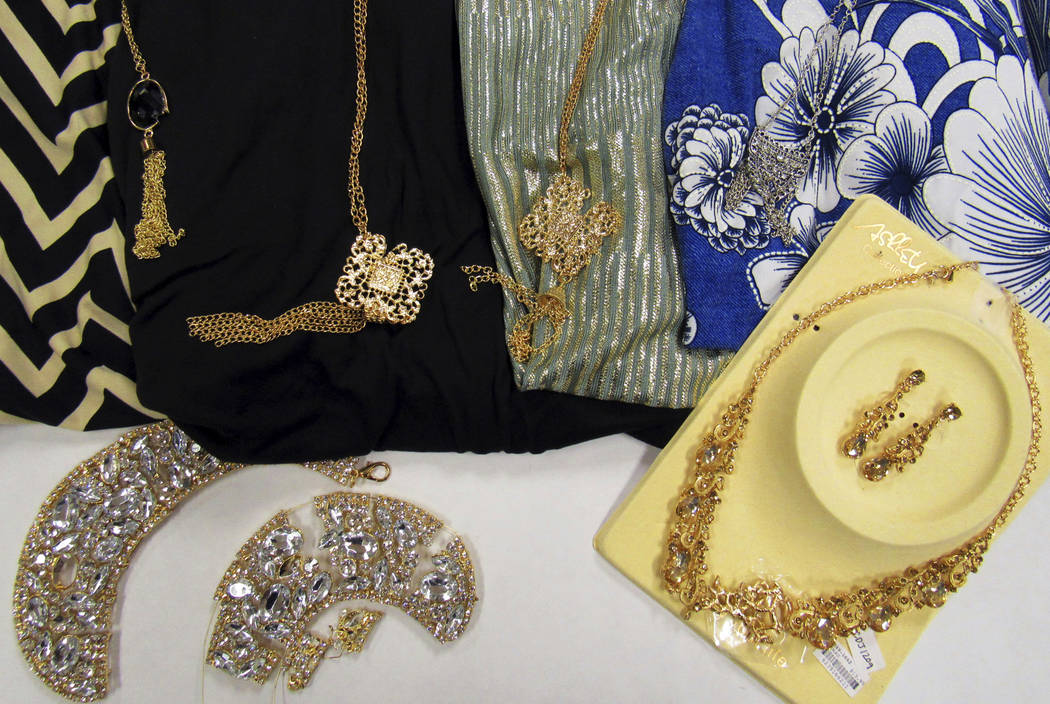 This Sept. 20, 2018, photo provided by the Center for Environmental Health (CEH) in Oakland, Calif., shows jewelry items loaded with the toxic metal cadmium they bought from the shelves of nationa ...