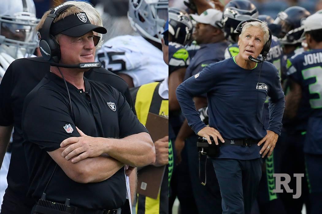 A composite photo of Oakland Raiders head coach Jon Gruden and Seattle Seahawks head coach Pete Carroll. (AP Photo)