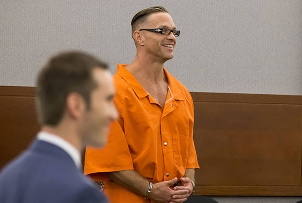 Death row inmate Scott Dozier appears before Judge Jennifer Togliatti during a hearing about his execution at the Regional Justice Center in Las Vegas on Monday, Sept. 11, 2017. (Richard Brian Las ...