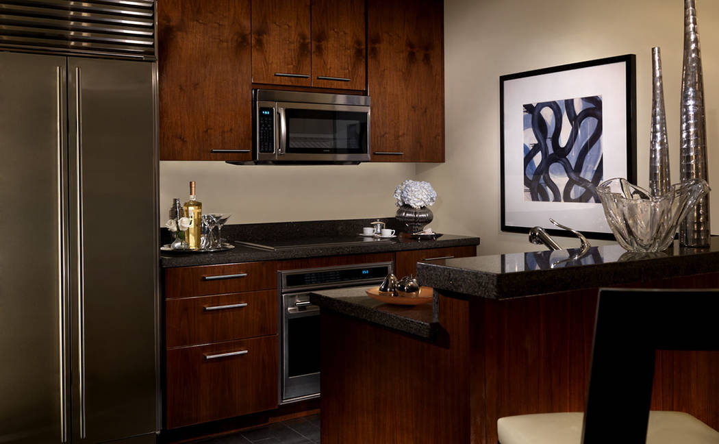 The kitchen in the one-bedroom penthouse in Trump International Las Vegas. (Trump International Las Vegas)
