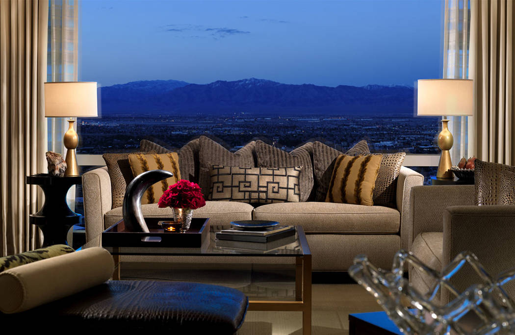 The two-bedroom Trump International Las Vegas penthouse features views of the desert mountains. (Trump International Las Vegas)