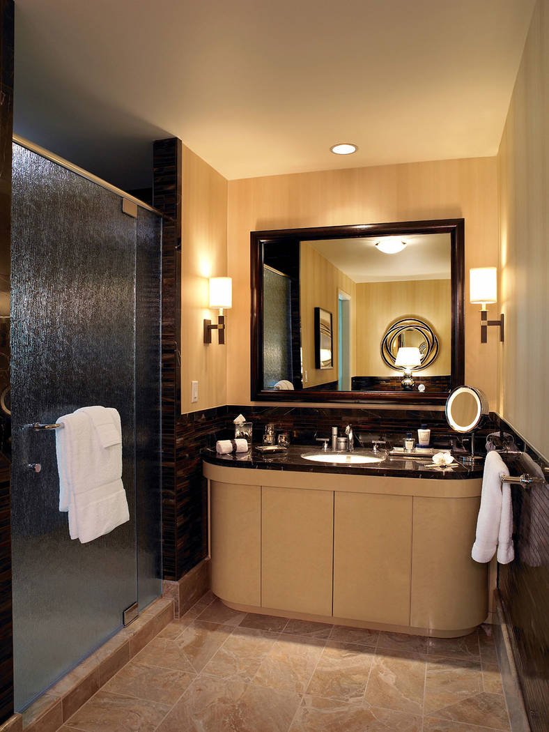 A secondary bath in the three-bedroom penthouse at Trump International Las Vegas. (Trump International Las Vegas)
