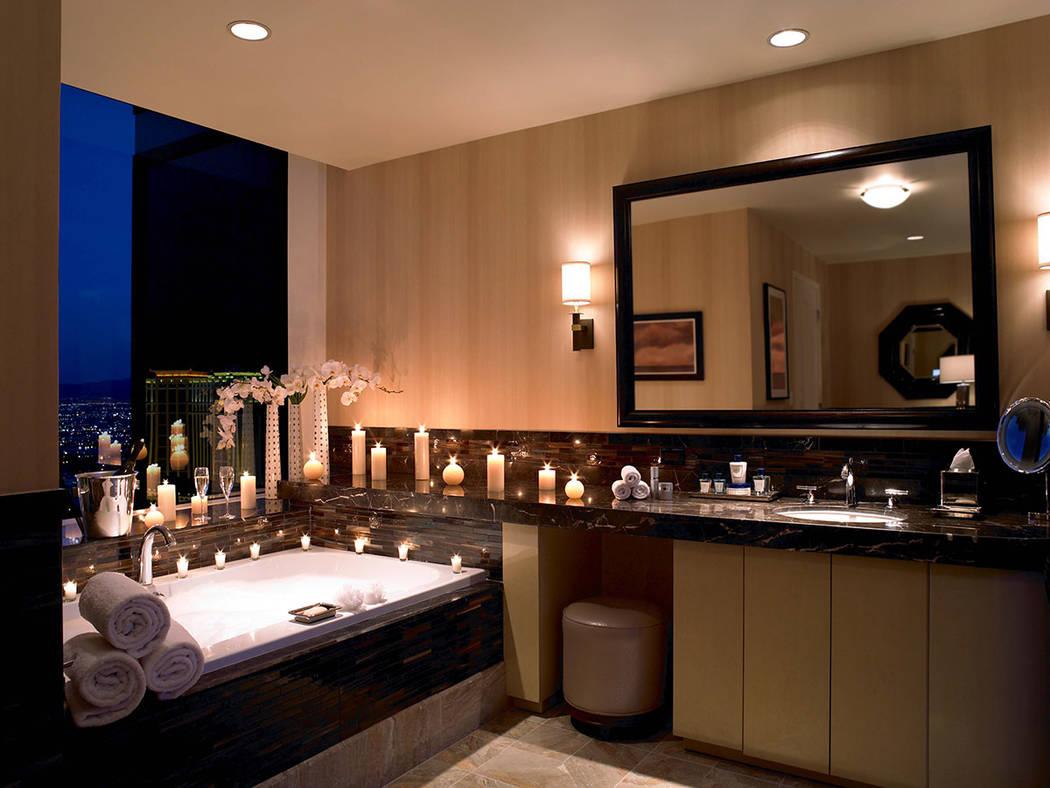 A three-bedroom penthouse in Trump International Las Vegas features a large master bath. (Trump International Las Vegas)
