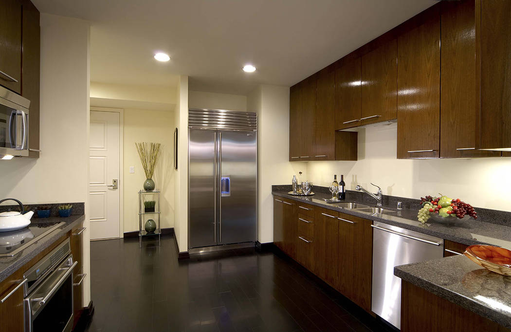 The three-bedroom penthouse at Trump International Las Vegas has an upgraded kitchen. (Trump International Las Vegas)