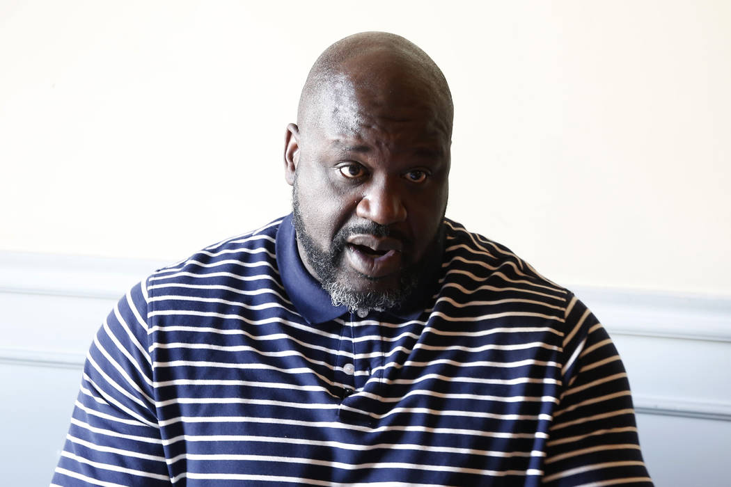 "Former NBA player and owner of ""Big Chicken"" restaurant Shaquille O'Neil speaks during an interview with the Las Vegas Review-Journal on Thursday, Oct. 11, 2018, in Las Vegas. Bizuayehu ..."