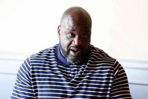 "Former NBA player and owner of ""Big Chicken"" restaurant Shaquille O'Neil speaks durin ..."