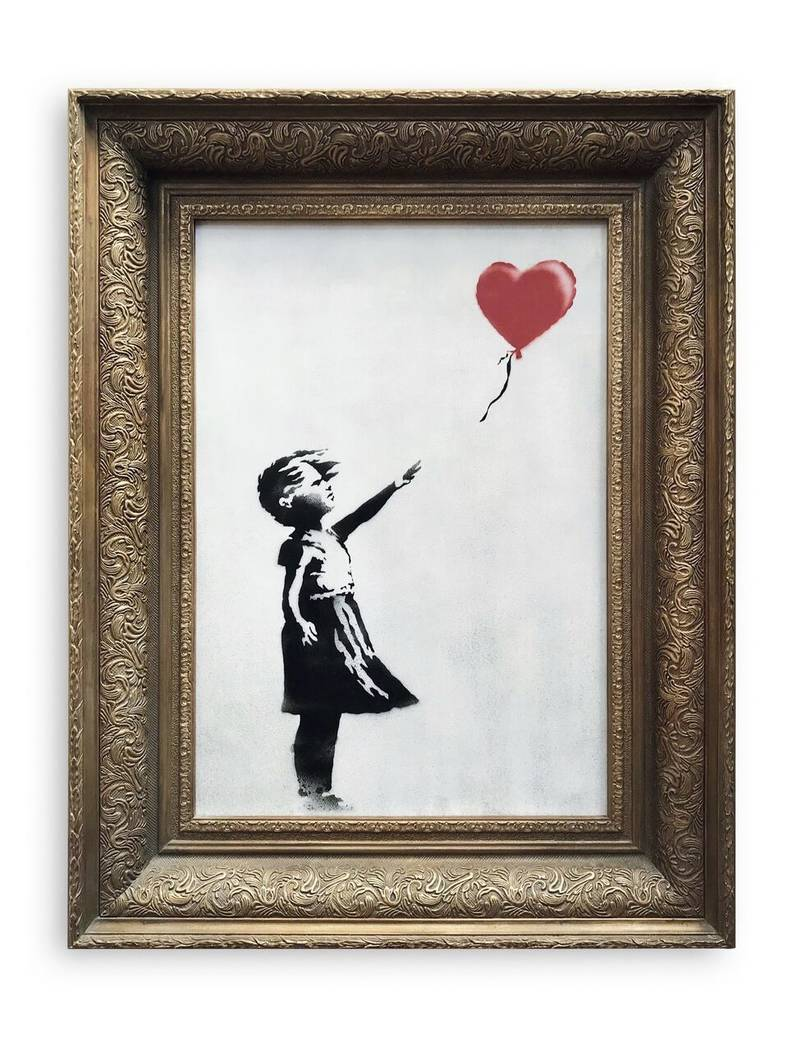 In this undated photo provided by Sotheby's the spray-painted canvas 'Girl with Balloon' by artist Banksy is pictured. Art prankster Banksy has struck again. A work by the elusive street artist se ...