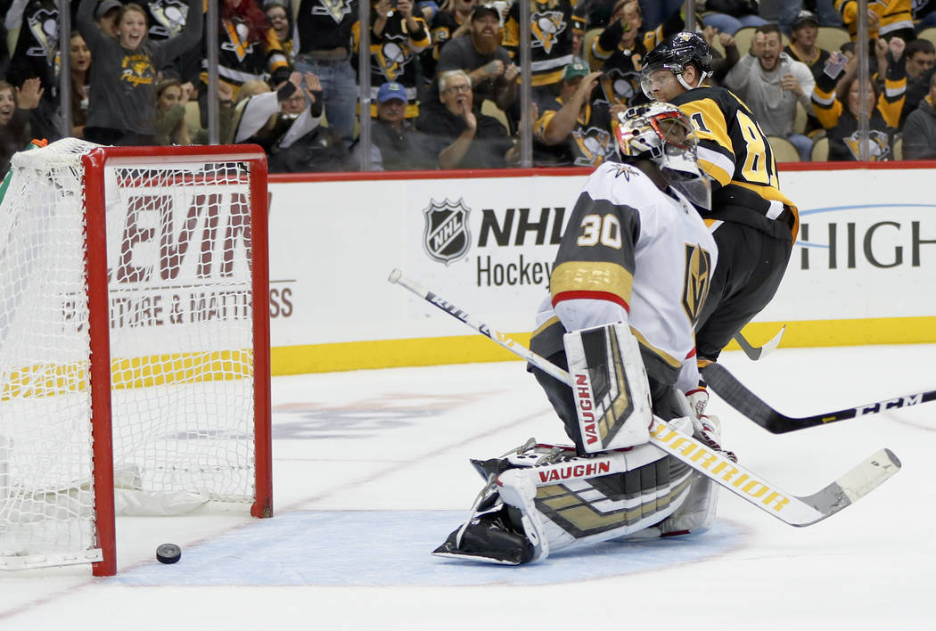 Pittsburgh Penguins' Phil Kessel, gets a shot past Vegas Golden Knights goaltender Malcolm Subban during the second period of an NHL hockey game, Thursday, Oct. 11, 2018, in Pittsburgh. It was Kes ...