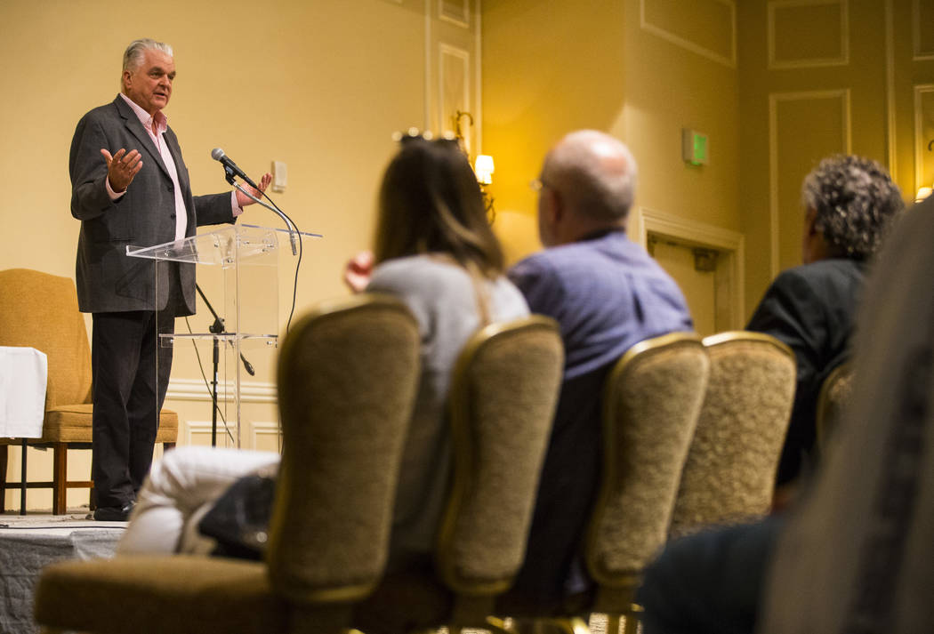 Steve Sisolak, chairman of the Clark County Commission and Democratic candidate for governor, speaks during a candidate forum held by the Nevada Broadcasters Association at Temple Beth Sholom in L ...