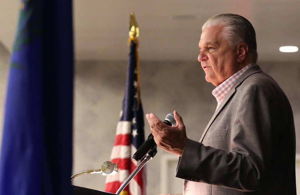 Democratic gubernatorial candidate, Steve Sisolak, speaks during the Women's Chamber 2018 candidate forum luncheon event on Friday, Aug. 17, 2018, in Las Vegas. Bizuayehu Tesfaye/Las Vegas Review- ...