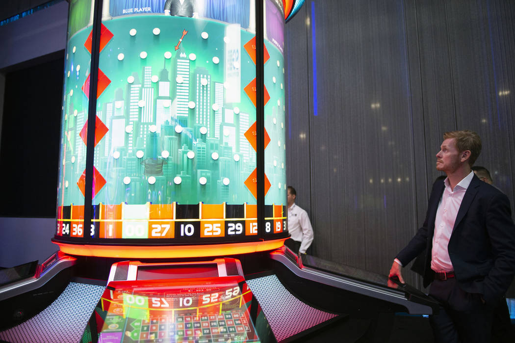 Scientific Games unveils its MONOPOLY Top Hat Roulette that features a circular construction, creating a more social experience for plays at the 18th annual Global Gaming Expo at Sands Expo and Co ...