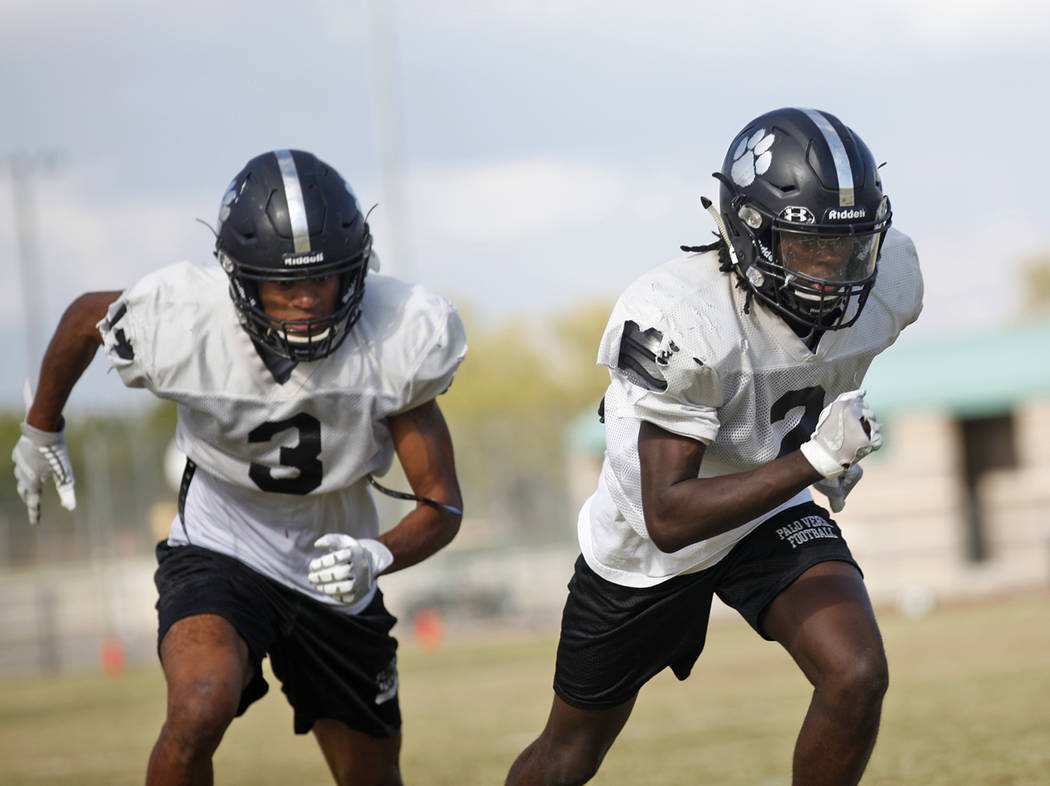 Palo Verde High School player Karsonne Winters (3), left, and Charron Thomas (2), during drills at practice at Palo Verde High School in Las Vegas, Thursday, Oct. 11, 2018. Rachel Aston Las Vegas ...