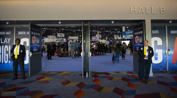 Doors to the show floor are open during the second day at the 18th annual Global Gaming Expo at Sands Expo and Convention Center in Las Vegas, Tuesday, Oct. 9, 2018. Caroline Brehman/Las Vegas Rev ...