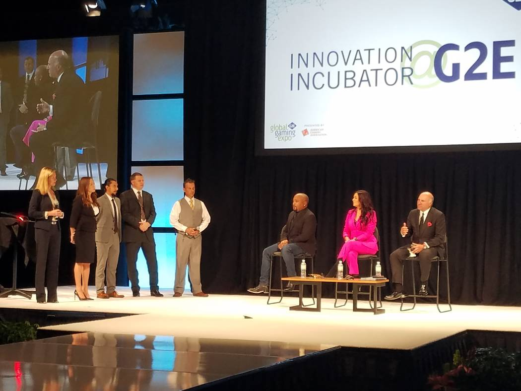"Student and startup entrepreneurs attending the ""Innovation Incubator"" at the Global Gaming Expo Tracy Hankin, CEO of Inside Injuries; Brittney Martino, UNLV's technology liaison for the Office ..."