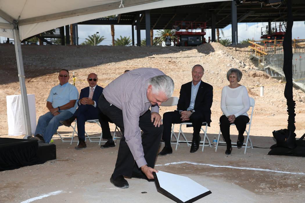 Clark County Commissioner Steve Sisolak during a topping off ceremony at the Las Vegas Ballpark construction site in Las Vegas, Thursday, Oct. 11, 2018. Erik Verduzco Las Vegas Review-Journal @Eri ...