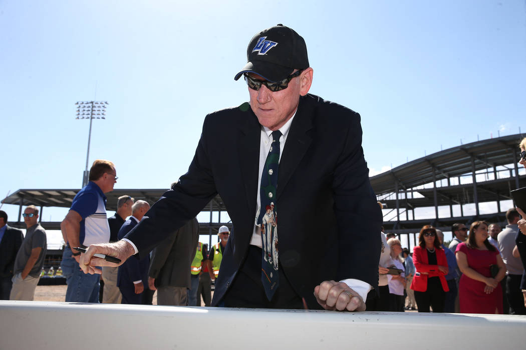 Clark County Commissioner Larry Brown signs a steel beam during a topping off ceremony at the Las Vegas Ballpark construction site in Las Vegas, Thursday, Oct. 11, 2018. Erik Verduzco Las Vegas Re ...