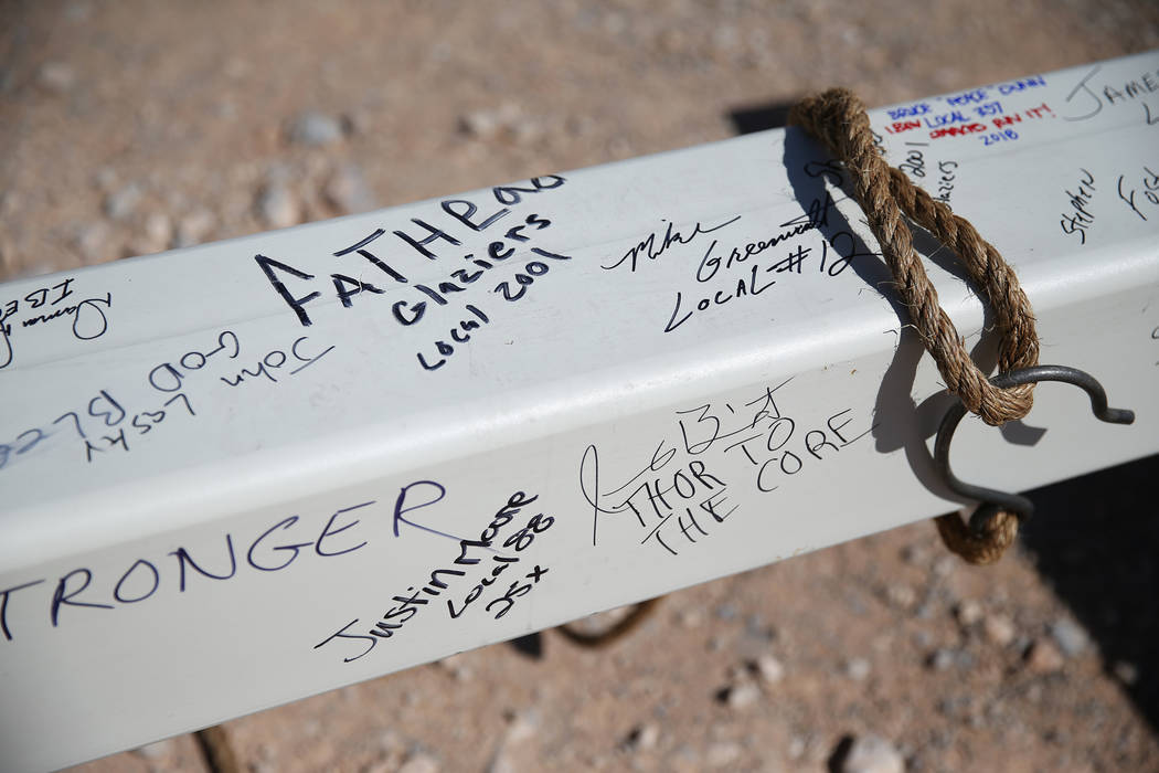 A steel beam with signatures of attendees during a topping off ceremony at the Las Vegas Ballpark construction site in Las Vegas, Thursday, Oct. 11, 2018. Erik Verduzco Las Vegas Review-Journal @E ...