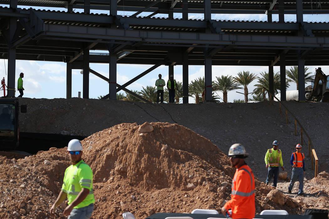 Workers at the Las Vegas Ballpark construction site in Las Vegas, Thursday, Oct. 11, 2018. Erik Verduzco Las Vegas Review-Journal @Erik_Verduzco