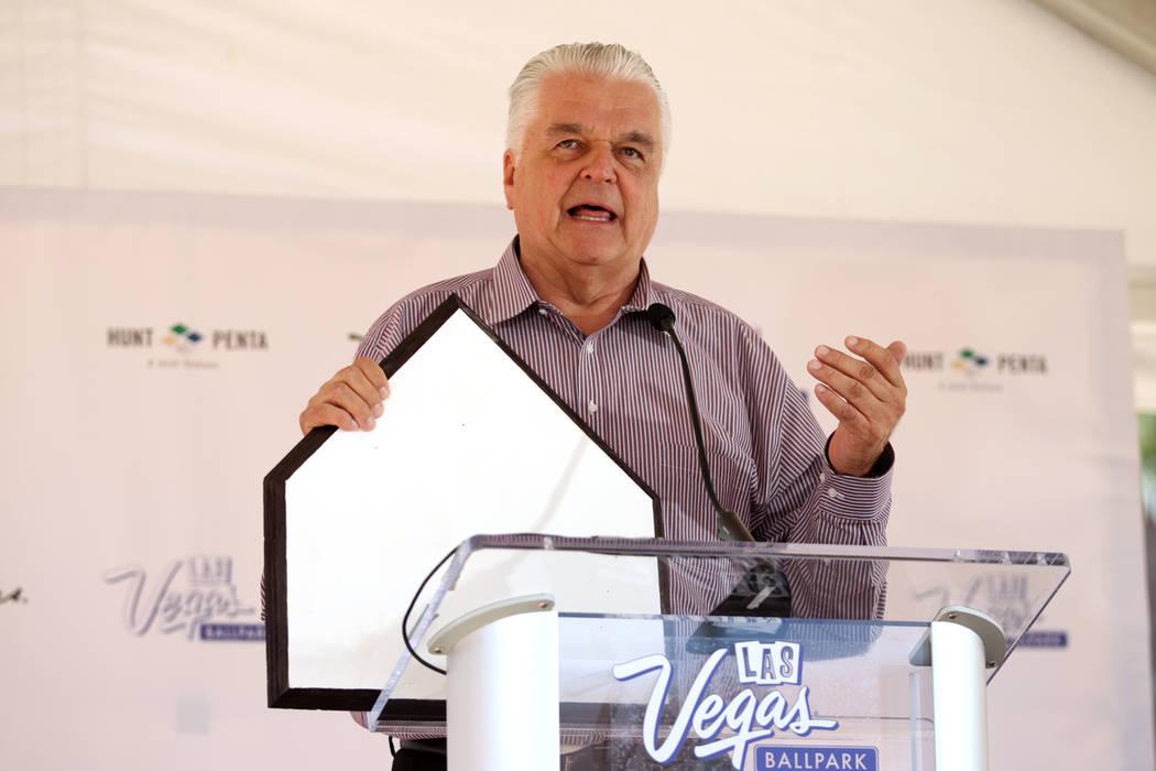 Clark County Commissioner Steve Sisolak speaks during a topping off ceremony at the Las Vegas Ballpark construction site in Las Vegas, Thursday, Oct. 11, 2018. Erik Verduzco Las Vegas Review-Journ ...