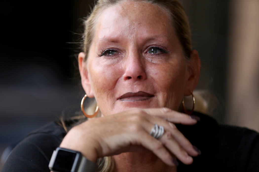 "Connie Land talks about the unsolved killings of her daughter Sydney and Sydney's boyfriend, Nehemiah ""Neo"" Kauffman, during an interview at the Las Vegas Review-Journal offices on Wednesday, Oct. ..."